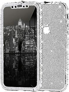 iPhone 11 手机壳,女孩和女士奢华闪亮闪亮水钻钻石金属纽扣保险杠手机壳和闪亮闪光贴纸保护壳适用于 iPhone 11 钻石手机壳,