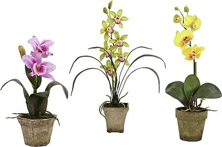 近自然盆栽混合兰花丝花 - 3 件套 Lavender/Gold/Yellow 4985-A2-S3