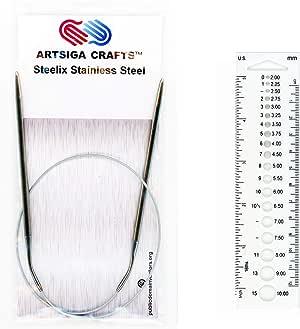 Artsiga Crafts Steelix 圆形编织针不锈钢尖头长度 60 厘米/24 英寸金属线,针头和可再封袋 Size 2.25mm ARTC-444-24-2.25