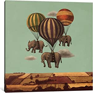 """iCanvasART Flight Of The Elephants Mint Square Canvas Print by Terry Fan, 18 by 18""""/0.75"""" Deep"""
