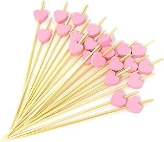 Honbay 100 件 11.94 cm 手工鸡尾*拨片远足者竹牙签三明治水果牙签 粉色心形 COCKTAIL-PICKS-PINK-HEART-100