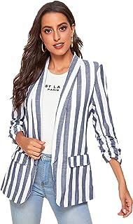 Floerns 女式长袖开襟条纹外套