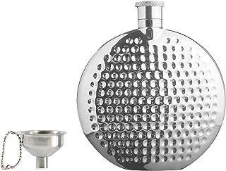 UonlyU 带漏斗的随身酒壶,170 g 随身酒壶,带礼盒,18/8 304 食品级不锈钢制造,便携式随身酒瓶 珍珠白 6盎司