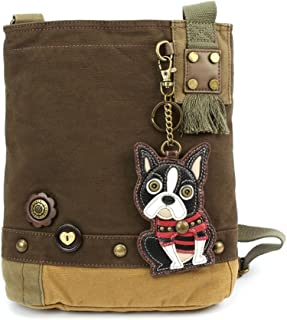 "Chala 女式帆布贴片斜挎包""Boston Terrier""- 深棕色"