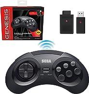Retro-Bit Sega Genesis 2.4 GHz 無線控制器 8 鍵式拱門墊,適用于 Sega Genesis 原裝/迷你,任天堂開關,電腦,Mac – 包括 2 個接收器和存儲盒 – 黑色