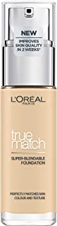L'Oreal Paris 巴黎欧莱雅 True Match 液体粉底液,1.W,黄金象牙,含透明质酸,SPF 17,30毫升