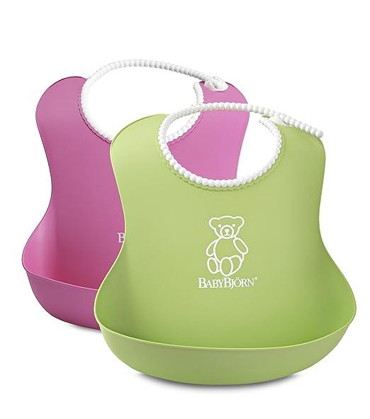 瑞典 BABYBJORN Soft Bib 软胶防碎屑 围嘴(粉色+绿色 2只装 4个月以上) (产地 瑞典)