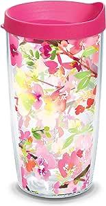 Tervis 隔热玻璃杯,带包装和紫红色盖 透明 16oz 1335144