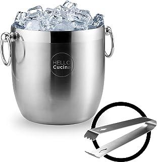 Hello Cucina 带夹子的隔热冰桶,双壁不锈钢饮料冷却器,专业隔热冰盒 - 非常适合烧烤聚会、葡萄酒、威士忌、香槟等