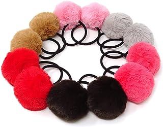 Honbay 12 件韩国可爱绒球弹性发带 PomPom 发带无缝发绳马尾辫夹