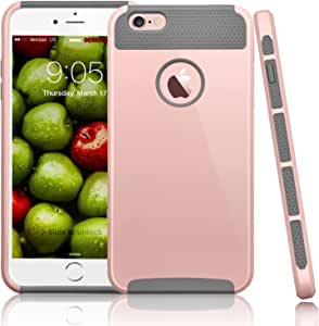 iPhone 6S PLUS 手机壳, iPhone 6Plus 手机壳, tinysaturn ( TM ) [ ymars 系列 ] iphone 6s plus / 6plus [ 30.48厘米 ] 混合高强度冲击防震 HARD Shell 内硅胶手机壳保护套 Rose Gold/Grey