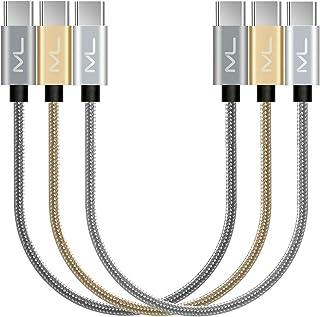 USB C 数据线 - 认证短 USB-C 到 USB-C 可逆编织线,适用于 USB Type-C 设备 Galaxy S8,S8 +,Google Pixel,Nexus 6P,Nintendo,MacBook 等