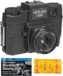 Holga 120N 中号胶片相机(黑色)带 Kodak TX 120 胶片包和超细纤维布