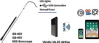 Vividia GB-460 USB 数码手动对焦枪筒望远镜相机,直径 4 毫米,长 24 英寸 (60 cm) 插入管 with wifi box GB-460-W