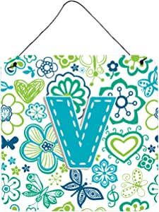 """Caroline's Treasures Letter V Flowers and Butterflies Teal Blue Wall or Door Hanging Prints, 6 x 6"""""""