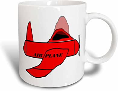 3dRose mug_41714_1 Red Plane with Airplane, Black Ceramic Mug, 11-Ounce