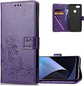 HMTECHUS 谷歌 Pixel 3 女士钱包式保护套礼物 PU 皮革 3D 效果壳磁扣防震翻盖卡套保护套适用于 Google Pixel 3 A] Lucky Clover Floral:purple