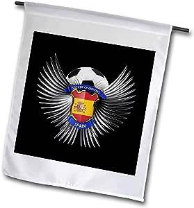carsten reisinger illustrations 插图–西班牙足球 with Crest TEAM 足球西班牙语–旗帜 12 x 18 inch Garden Flag