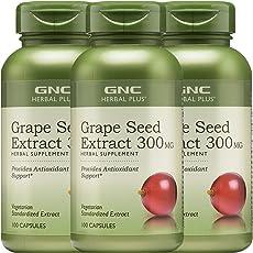 3瓶装 GNC 健安喜 葡萄籽浓缩精华胶囊 300mg*100粒*3瓶 (美国进口 包邮包税)