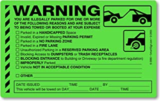 """MyParkingPermit You are Illegal Parked for One (或更多)原因,荧光绿贴纸,50 张贴纸/包,20.32 cm x 12.7 cm Fluorescent Green 8"""" x 5"""" D-2053"""