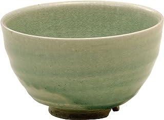 信乐烧 小鸟 明山窑制作 抹茶碗 绿釉