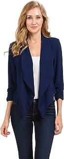 Auliné 系列女士七分袖休闲工作衬里前开襟开衫外套