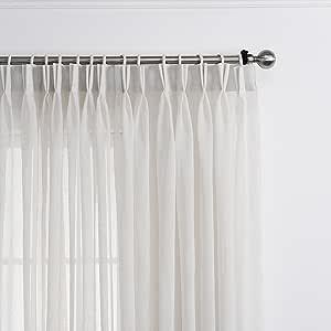 "LANTIME 透明窗帘 160.02cm,人造亚麻双褶窗帘窗帘,适用于家庭、*店、办公室、132.08cm 宽 x 160.02cm 长,白色,2 件套,米白色 米白色 (52"" W x 120"" L) X2"