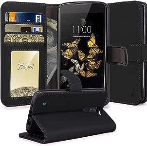 LG PHOENIX 2手机壳 LG ESCAPE 3手机壳 LG K8保护套 tauri [ 支架功能 钱包皮质手机壳 [ 卡槽 ] 翻盖保护套适用于 LG PHOENIX 2/LG ESCAPE 3/LG K8 Wallet Case Black