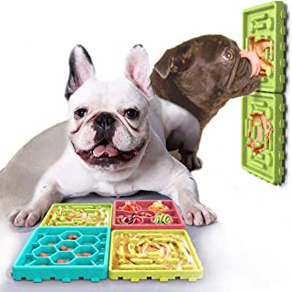 Ollypet 狗慢速喂食垫宠物舔垫套装小狗吃饭托盘喂食器带吸盘*桌适合可爱的安抚小狗花生荔枝垫组合盘4件套柔软耐用