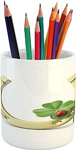 "Lunarable 运动铅笔笔架,各种运动标志不同游戏球,带标靶曲棍球和针,印花陶瓷笔筒,适用于办公配件,多色 Multi 21 3.6"" H By 3.2"" W pen_12067"