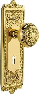 Nostalgic Warehouse 710782 Egg & Dart Plate with Keyhole Passage Egg & Dart Door Knob In Unlacquered Brass,