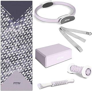 Fitfiu 套装带6个配件,适用于瑜伽和普拉提,适用于成人,男女通用,37.5 x 16.5 x 61.5