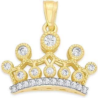 14k 纯金皇冠吊坠套装带方晶锆石,皇家珠宝皇冠吊坠礼物