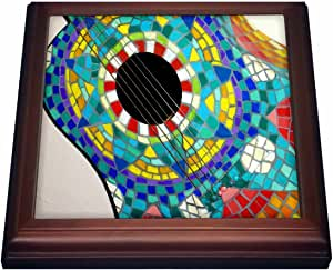 Florene Music - Photo Of Colorful Guitar Made With Mexican Tiles - Trivets 棕色 8 到 8 英寸