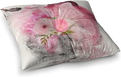 "KESS InHouse Li Zamperini ""My Butterfly""多色粉色水彩方形地板枕 多种颜色 23"" x 23"" LZ1061ASF01"