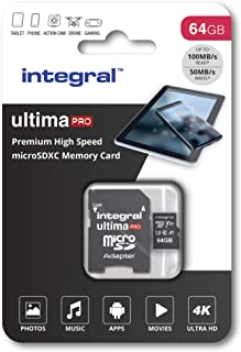 Integral UltimaPro X 32 GB microSDHC 超高速 Class 10 存储卡,U3 额定值INMSDX64G-100/70V30 100 MB/s U3 V30 64 GB