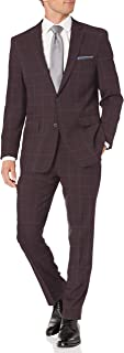 Perry Ellis 男式两件套修身西装 红色(Red Plaid) 40 Regular