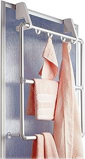 Wenko 3303100 铝毛巾架 适用于门和淋浴舱 紧凑型 4 个挂钩,63 x 63 厘米