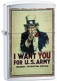 Zippo 中性款美国*海报 I Want You。 防风口袋打火机,拉丝铬,均码