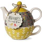 pavilion Gift Company 74070 bloom 幸福陶瓷茶,适用于 1 件,15 盎司,多色