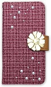 白色坚果 ツィード 装饰手机保护壳翻盖式 粉色 18_ Moto G5s Plus XT1805