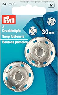 Prym 30 mm Sew-On Snap Fasteners, Pack of 2, Brass Silver