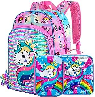 独角兽女孩背包,16 英寸(约 40.6 厘米)亮片背包和午餐盒铅笔盒