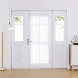 Deconovo 人造亚麻法式门透明窗帘白色薄纱窗帘适用于玻璃门 白色 54x72 Inch CT3088S-4