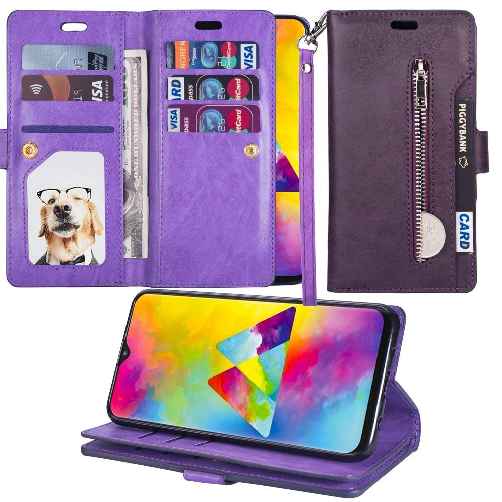 L-FADNUT 拉链钱包式保护套奢华 PU 皮革翻盖保护套双对开卡槽软 TPU 内腕带磁性支架手提包套Samsung Galaxy A20/A30 Samsung Galaxy A20/A30 紫色