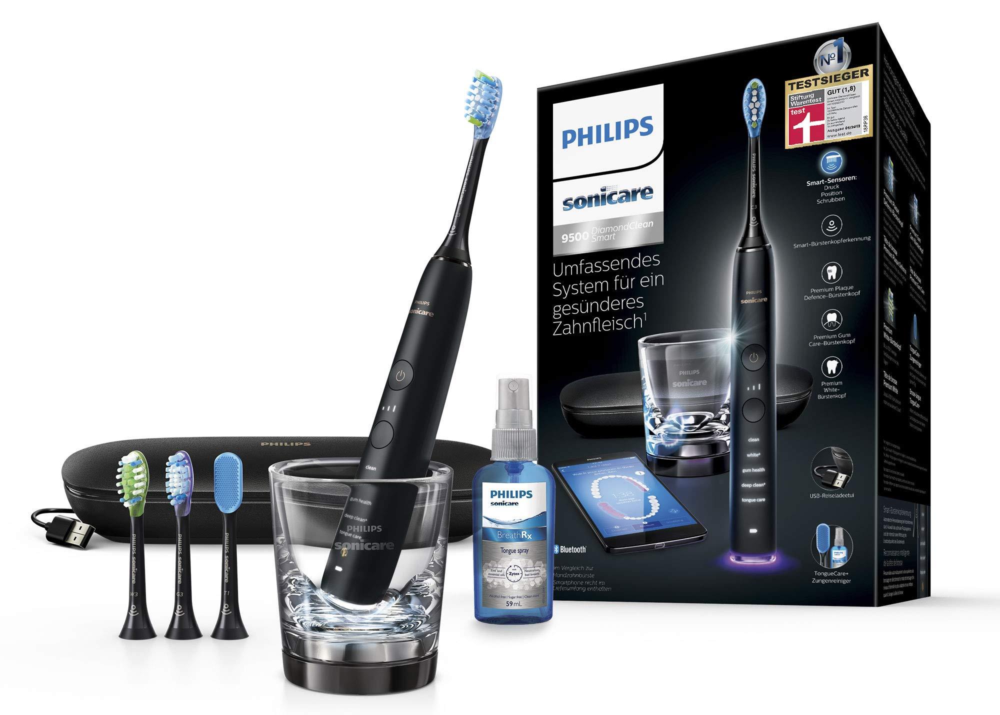 Philips 飞利浦 Sonicare 钻石清洁智能声波牙刷 HX9924/13,具有5个清洁程序,3个强度,充电玻璃杯,USB旅行盒和4个刷头,压力传感器可进行温和清洁 黑色