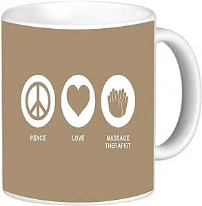 Rikki Knight Peace Love Massage Therapist Brown Color Photo Quality Ceramic Coffee Mug, 11-Ounce