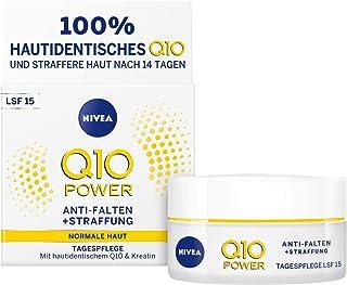 NIVEA 妮维雅 Q10 Power 防皱 + 紧致日霜,光滑和年轻的皮肤,日霜,含LSF 15,2件装(2 x 50毫升)