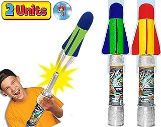 JA-RU 大号儿童火箭发射器玩具套装 Air Max 空气泵(1 个组合颜色)手拍火箭玩具适合儿童和成人。 非常适合户外游戏派对。 673-1A 2 Units Air Max Pump Rocket