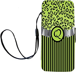 """Rikki Knight Letter""""Q"""" Initial Lime Green Leopard Print and Stripes Monogrammed Flip Wallet iPhoneCase with Magnetic Flap for iPhone 5/5s - Lime Green"""